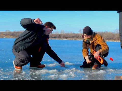 First Muskie Ever! -- Ice fishing With Tip-ups