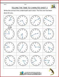 math worksheet : telling time sheets  to 5 minutes sheet 2 http  www math  : Salamander Math Worksheets