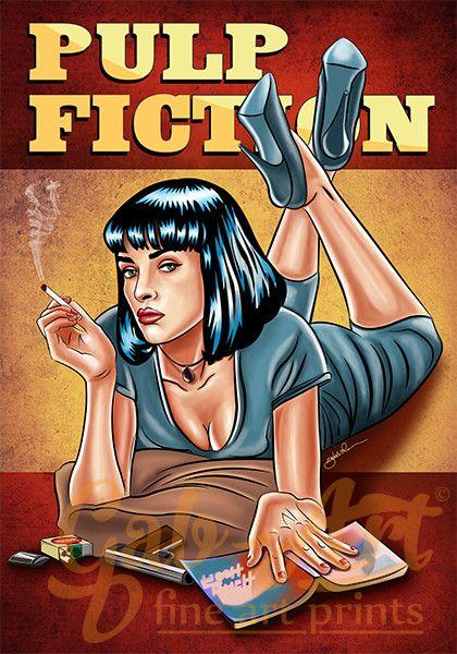 """Digitaldruck - Posterdruck - """"Mia Wallace - Pulp Fiction"""" - ein Designerstück von partyeinladungen_com bei DaWanda"""