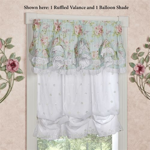Cottage Rose White Eyelet Balloon Window Shade Shabby Chic