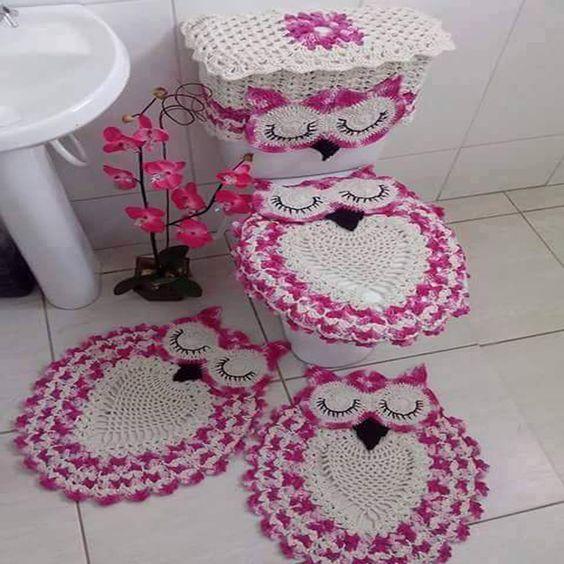 Jogo de Banheiro Coruja Dorminhoca Tapete pia tampo do vaso sanitário porta p -> Jogo De Banheiro Pia E Vaso Sanitario