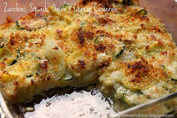 Zucchini, Squash, Onion and Cheese Casserole