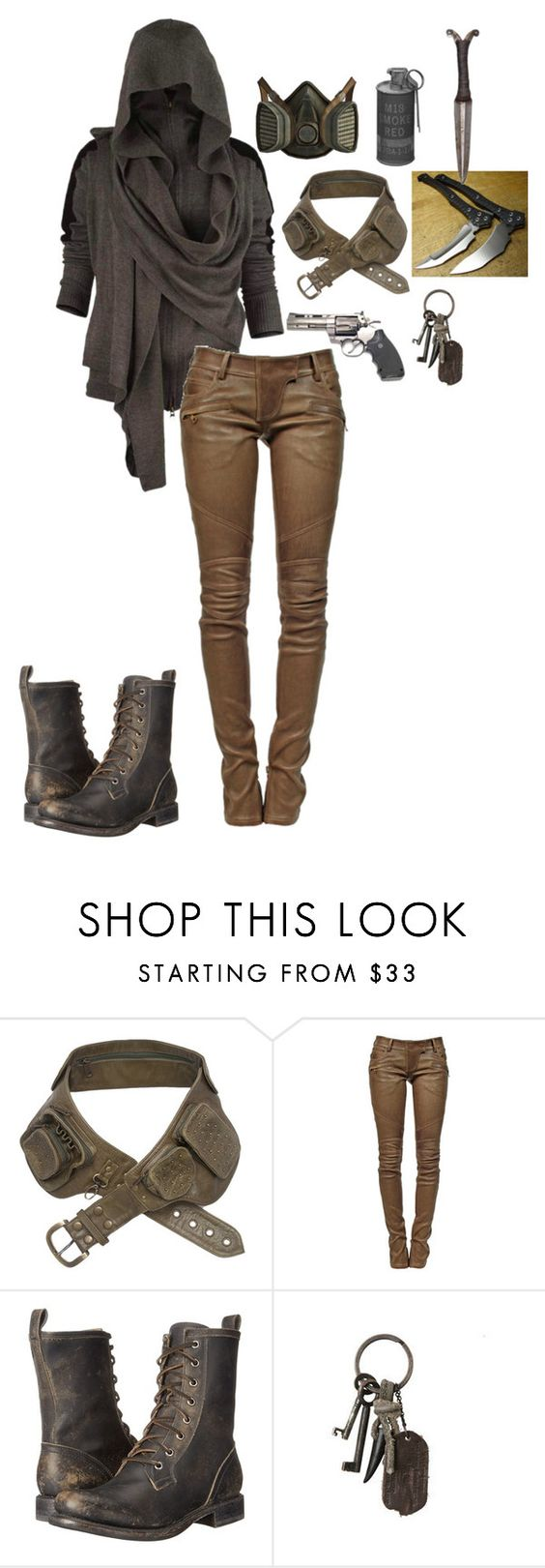 """Untitled #674"" by breemanor ❤ liked on Polyvore featuring GAS Jeans, Balmain, Frye and AllSaints"