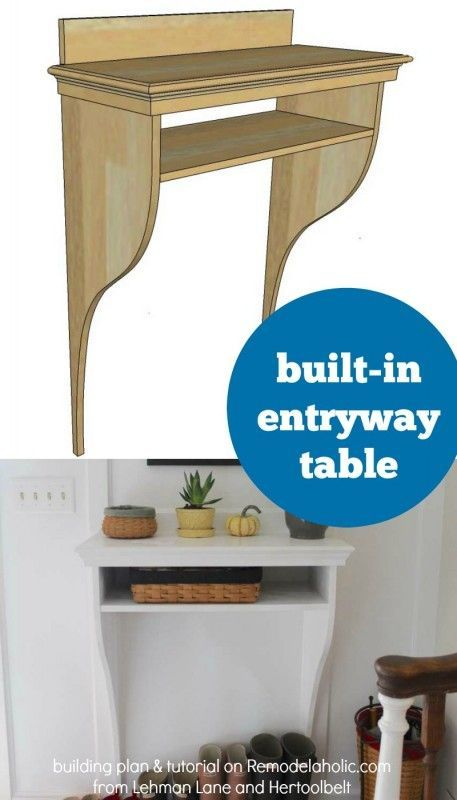 Make your own simple built-in entryway table -- a perfect complement to board and batten wainscoting, giving you storage without taking up floor space.