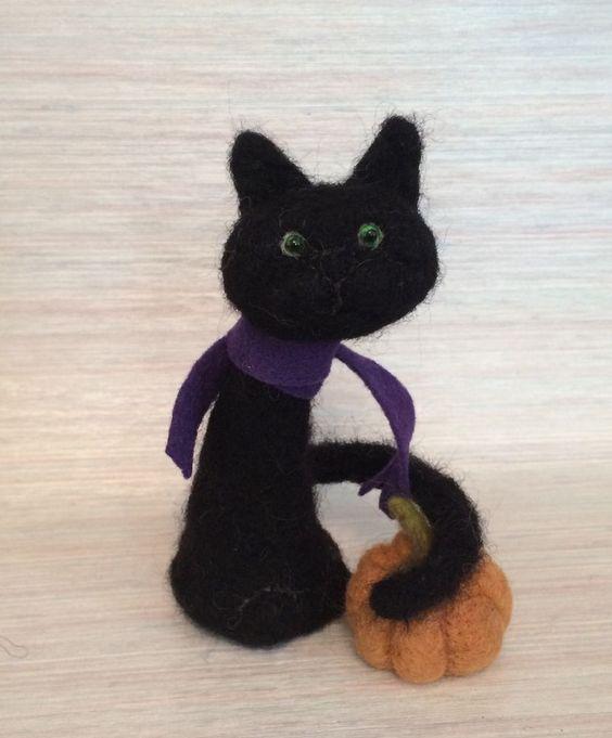 NEEDLE FELTED HALLOWEEN EPIC BLACK CAT SALE PUMPKIN  BY MY MAGIC ART  WOOL NEW