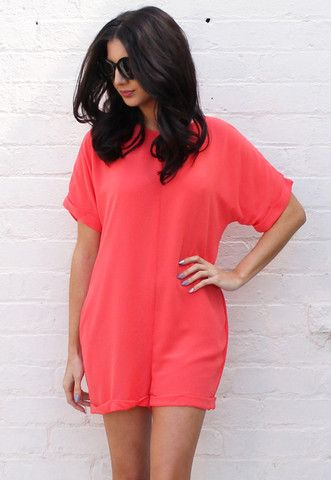Loose Fit Short Sleeve Chiffon Playsuit in Orange