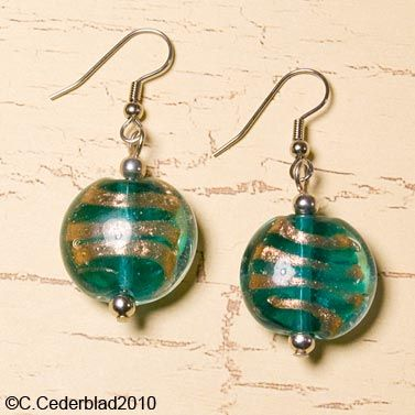 teal glass | Teal glass bead earrings by skuggsida