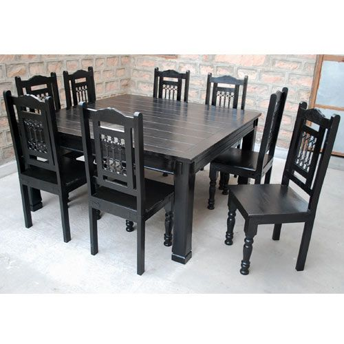 8 Chair Square Dining Table: Rustic Solid Wood Square Block Legs Dining Table