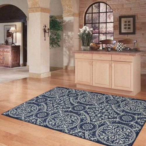 New medallion modern area rug grey blue navy silver living - Living room area rugs contemporary ...