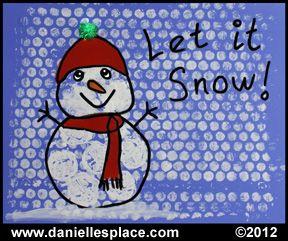 Bubble Wrap snowman and snow craft for children www.daniellesplace.com
