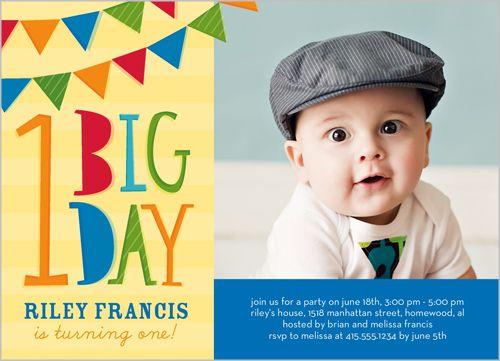 Flag Bunting Boy Birthday Invitation | Sammy's 1st B-day ...