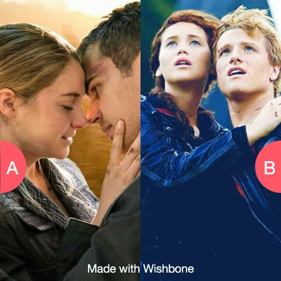 Tris and Four or Katniss and Peeta Click here to vote @ http://getwishboneapp.com/share/13148081