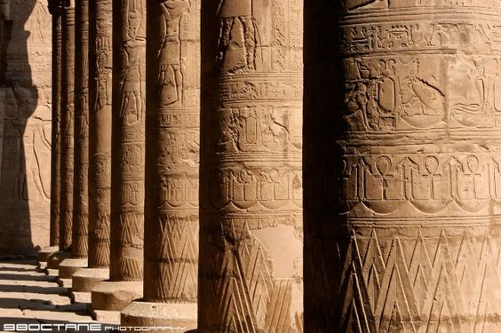 Columns with relief carvings of hieroglyphics.