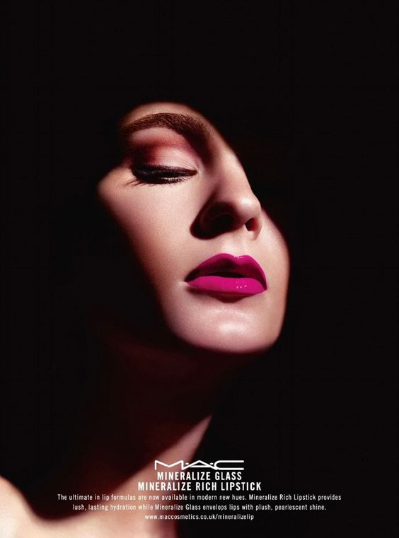 MAC Cosmetics enlists Irina Kulikova for a dramatically lit set of images to promote its Mineralize line