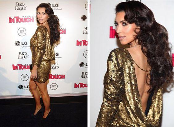 Kim Kardashian wearing a gold sequin Antik Batik dress - Antik ...