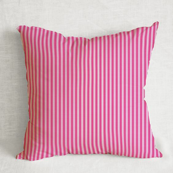 Housewarming gift, hot pink pillow cover, hot pink white, ticking, decorative pillow cover, accent pillow, pink decor, sofa pillow cover by ColorAmazing on Etsy
