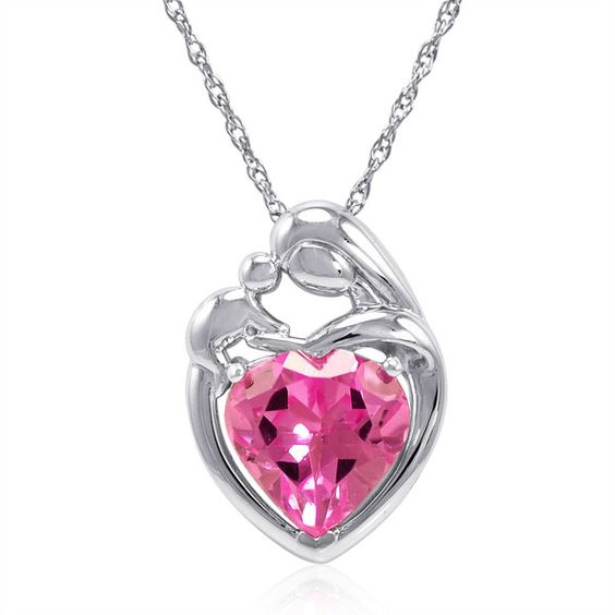 Sterling Silver Created Pink Sapphire Mothers Love Heart... ($25) ❤ liked on Polyvore featuring jewelry, pink sapphire jewelry, heart jewelry, necklace heart pendant, heart-shaped jewelry and heart pendant