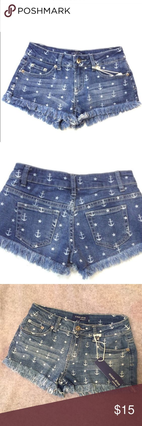 (NWT) Ocean Drive Denim Shorts, Coachella 2017! ⭐️ New with Tags!  Get ready for spring break with these Ocean Drive denim nautical anchor star print shorts Ocean Drive Shorts Jean Shorts