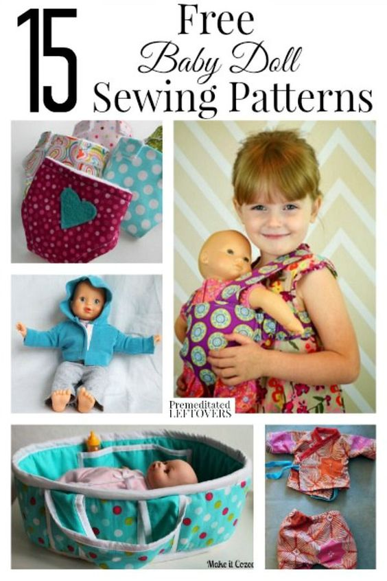 15 Free Baby Doll Sewing Patterns - Would you like to expand the wardrobe of your child's doll? Make some of these adorable baby doll outfits and accessories with free sewing patterns for them!: