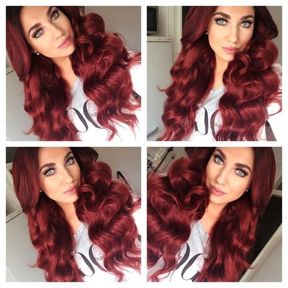 #ShareIG Red hair don't care ! @Sharons Hairteam dyed the 'red auburn' @luxuryforprincess extensions in vibrant red! ❤️ #nofilter #hairpost