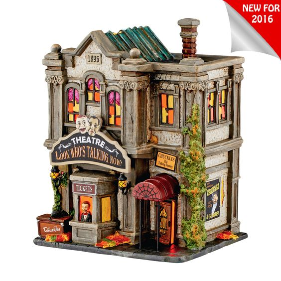 The Jolly Christmas Shop - Department 56 Halloween Village Look Who's Talking Now Theatre Building 4051010, $106.25 (https://www.thejollychristmasshop.com/department-56-halloween-village-look-whos-talking-now-theatre-building-4051010/)