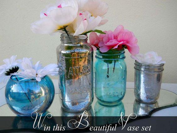 How to transform mason jars & dollar vases into colorful mercury glass.