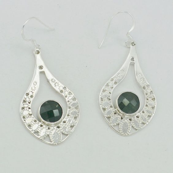 Dyed Emerald Sterling Silver Earrings Gemstone by DevmuktiJewels
