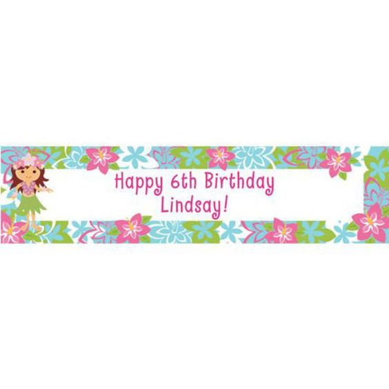 Check out Hula Girl Personalized Banner (each) - Cheap Themed Tableware…