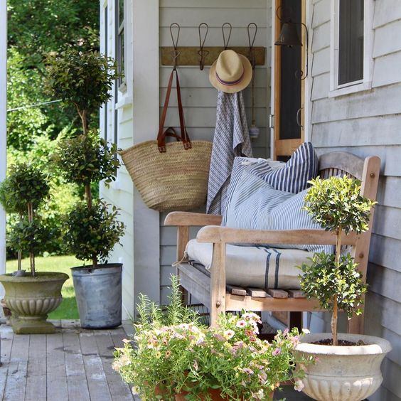 "Emily Perry - Spring Hill Farm on Instagram: ""Porch got a little refresh today. Everything was dead with the heat. Little trip to the local nursery and a change of pillows...much…"""