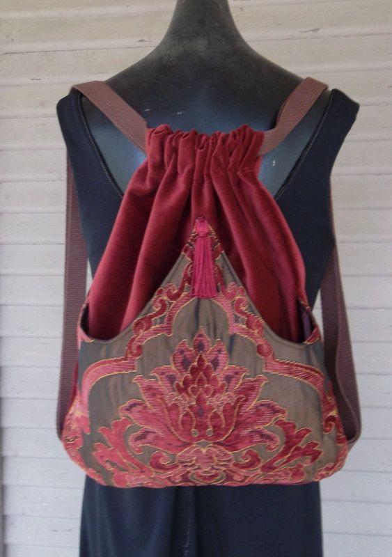 Borgoña y Chenille rico tapiz mochila óxido por piperscrossing