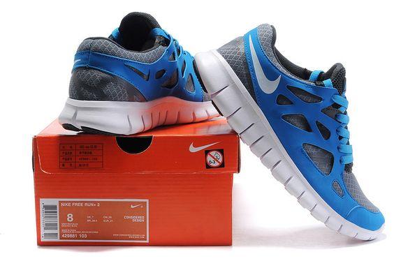 Nike Free Run 2 Herren-Schuhe Blau Grau Schwarz