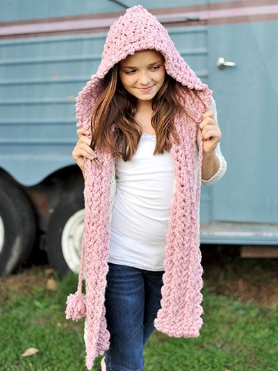 My Hoodie Scarf - #REC1384. Sized for Tweens and Teens/Women. Mom and Me Set. Mom and Daughter Set. Use Bulky or Chunky Weight Yarn. Scarf and Hoodie. Scoodie. Crochet Pattern. Instant Download from Annie's Catalog. $4.99.