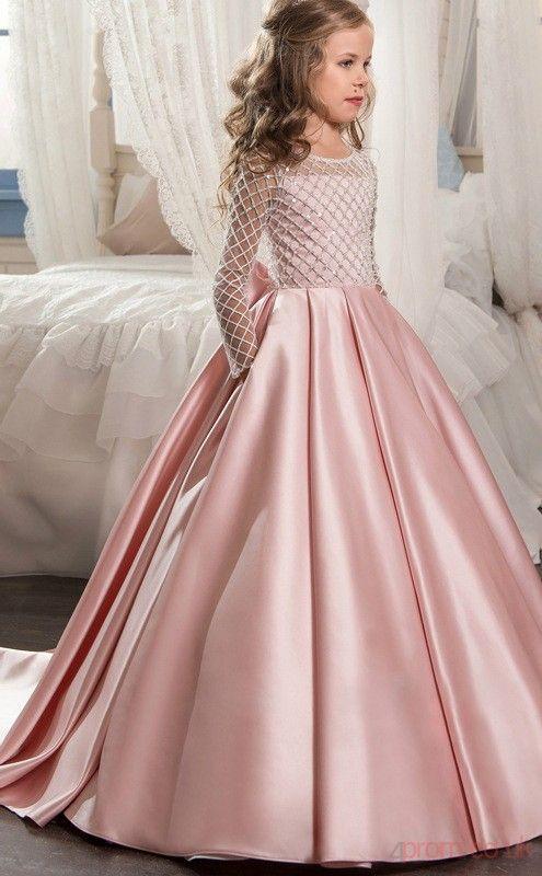 UK Toddler Kid Girls Princess Lace Dress Child Wedding Party Long Sleeve Dresses