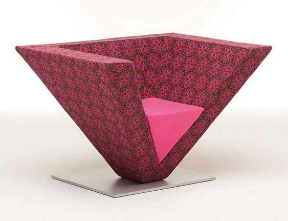 unique modern armchair sitzmöbel moderner sessel pyramide rosanuancen
