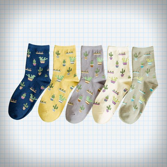 Cactus Plant Ankle Socks (5 Colours)