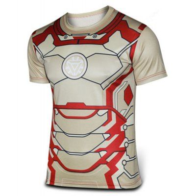 Fashion Round Neck Slimming 3D Iron Man Print Short Sleeve Polyester T-Shirt For Men-9.58 and Free Shipping| GearBest.com