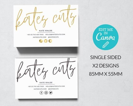 Gold Business Card Template Editable Single Sided Business Etsy In 2020 Business Card Template Gold Business Card Contact Card Design