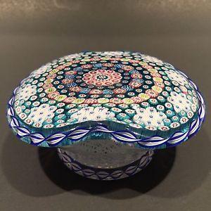 Vintage-Saint-Louis-Art-Glass-Paperweight-Millefiori-Basket-Of-Flowers-Piedouche