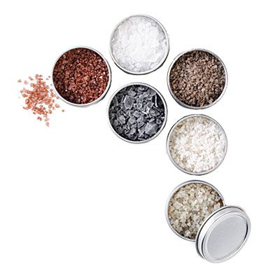 The Meadow's own Starter Set, as photographed by Cooking Light. Six different artisan salts.