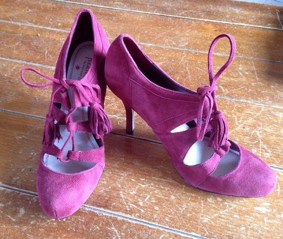 Plenty Tracy Reese Paola Red Maroon Lace Up Bootie Heels 36.5 6 #PlentyByTracyReece #LaceUps