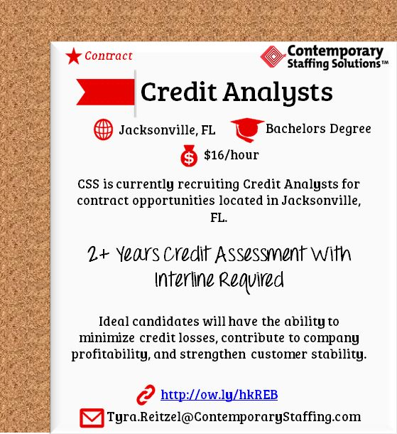 CSS is #hiring Credit Analysts in Jacksonville, FL l $16 hr l - resume services jacksonville fl