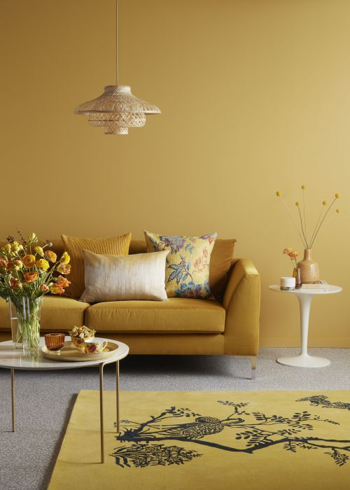 Mustard Yellow Color Trend Interior Decor Ideas Click To Discover More Inspirations Yellow Walls Living Room Yellow Living Room Mustard Living Rooms