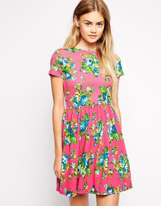 ASOS | ASOS Textured Skater Dress in Bright Floral Print at ASOS