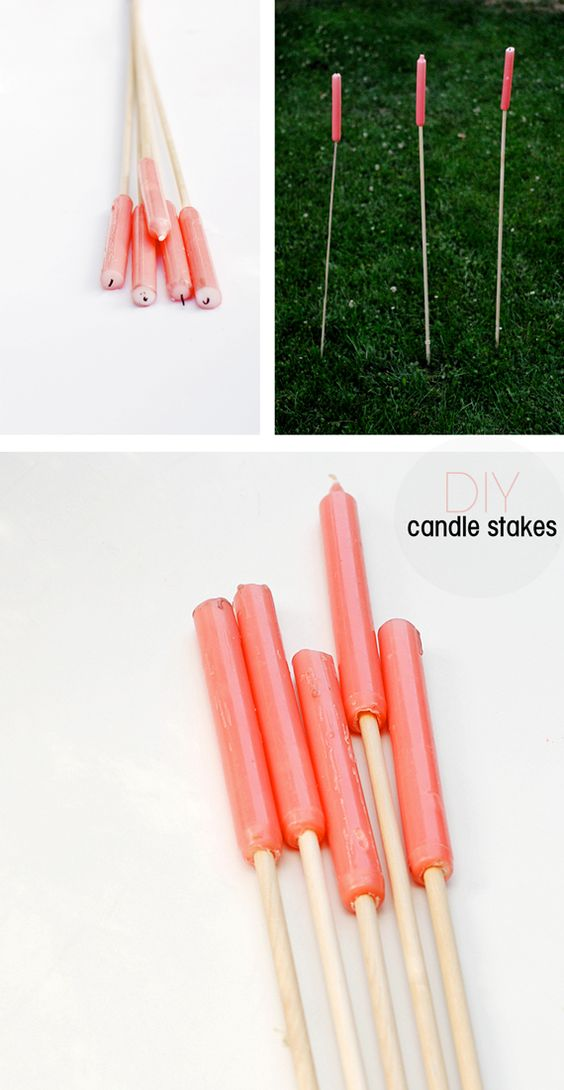 DIY candle stakes | Hallow out taper candles and set them atop wooden dowels for pretty outdoor light. #summer