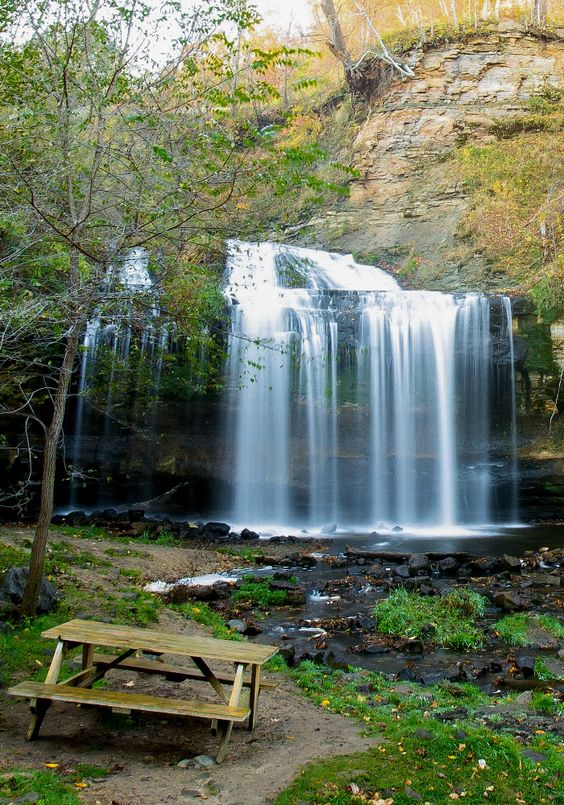 Easy to access small town Wisconsin waterfalls offer a picnic perfect view. Get outdoors and snap some pictures!