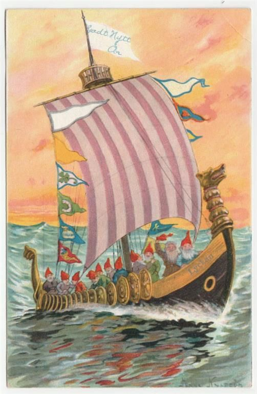 Annons på Tradera: Jenny Nyström Vikingaskepp - Vykort 1907