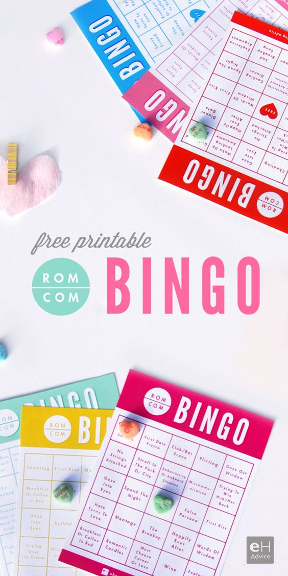 Free printable Rom Com Bingo from eH advice. Perfect for a date night or girl's night romantic comedy movie night.