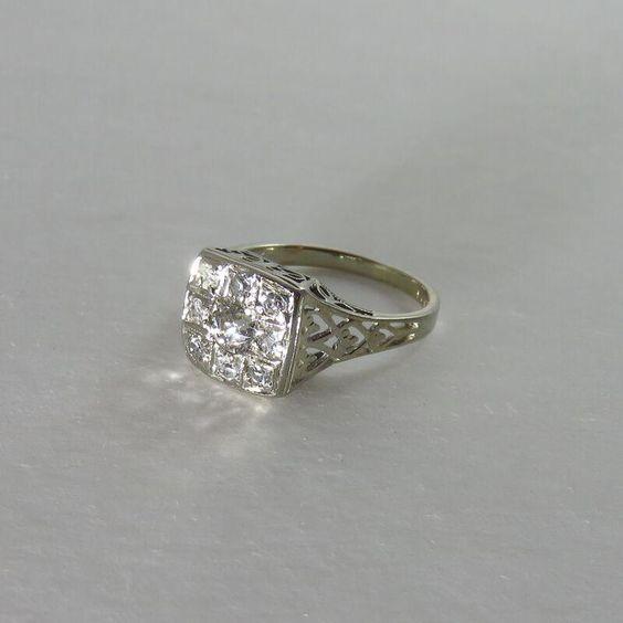 Art Deco 18K White Gold Diamond Cluster Ring