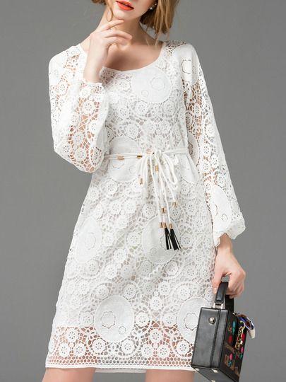 White Crochet Hollow Out Tie-Waist Dress