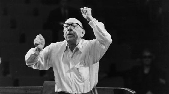 Igor Stravinsky conducting the Philharmonic Orchestra in rehearsal at the Royal Festival Hall, London.